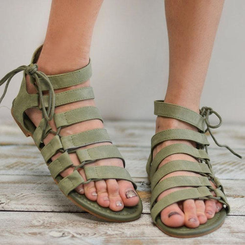 PMS green / 35 Casual Pure Color Roman Sandals