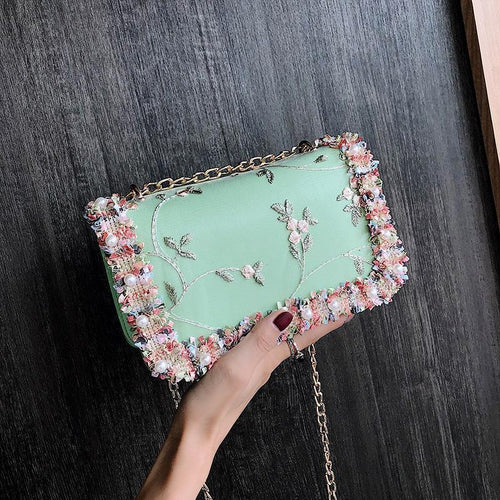 PMS green / one size Fashion Floral Small Handy Chain One Shoulder Hand Bag