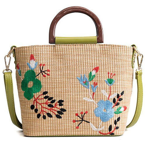 PMS green / one size Folk-Custom Woven Handbag