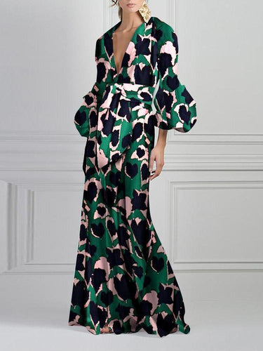 PMS Green Vintage Printed V-Neck Fashion Maxi Dress