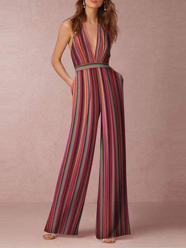 PMS Halter Pocket Plain Wide-Leg Jumpsuit