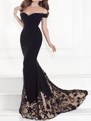 PMS High-End Black Lace  Mermaid Skirt Party Dress