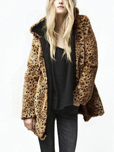 PMS Hooded Zipper Long Sleeve Leopard Fashion Fur Coats