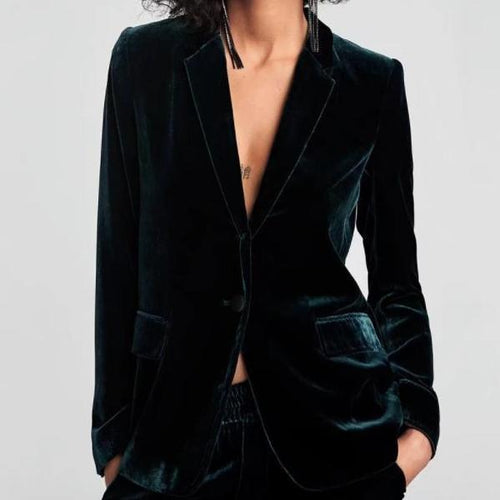 PMS Jacket & Outwear Dark Green / s Chic Solid Velvet Suit