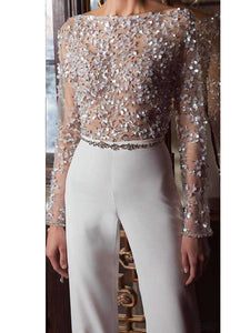 PMS Jumpsuit Fashion Elegant Pure Colour Splicing Sequins Jumpsuits