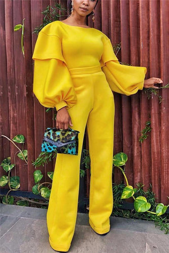 PMS Jumpsuit Pure Color Round Collar Lantern Sleeve Trousers