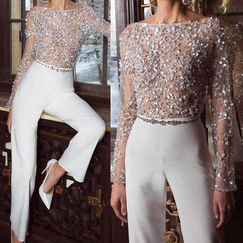 PMS Jumpsuit White / s Fashion Elegant Pure Colour Splicing Sequins Jumpsuits