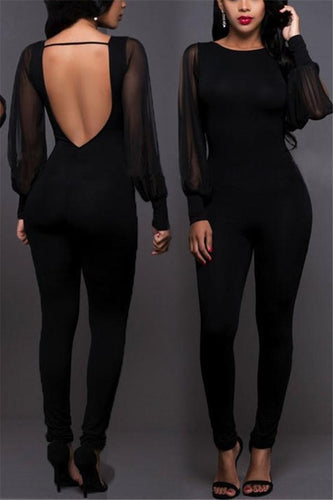 4b909550ba6 PMS Jumpsuits Black   s Fashion Sexy Long Sleeved Chiffon With Bare Back  Jumpsuit