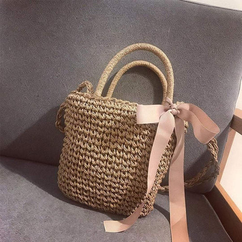 PMS khaki / one size 🔥2018 Must Have Bow-Knot Straw Bag