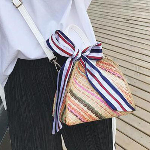 PMS khaki / one size Fashion Straw Beach One Shoulder Hand Lantern Bag