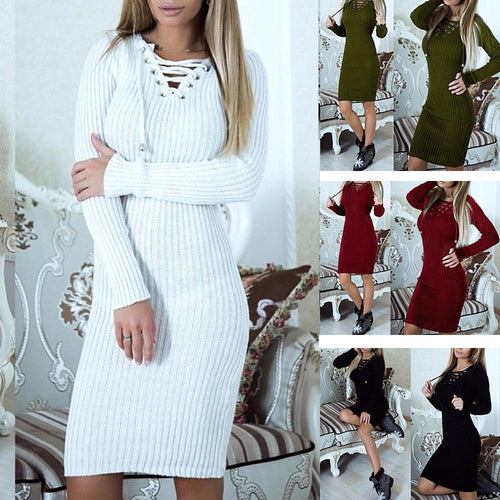 PMS Knitted Lace Up Neck Bodycon Dress