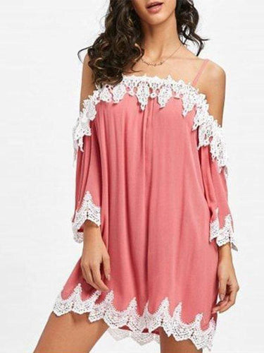 PMS Lace Patchwork Spaghetti Straps Vacation Dress