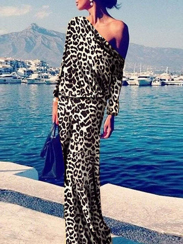 PMS Leopard Print / s Sexy Leopard Print Long Sleeve Maxi Dress