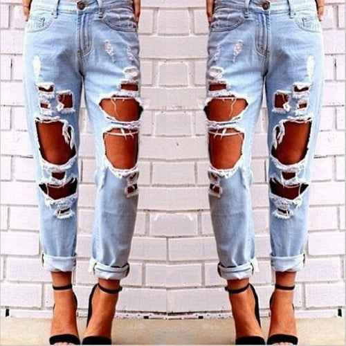 PMS light_blue / s 2018 Fashion Sexy Hole Denim Jeans Denim Pants