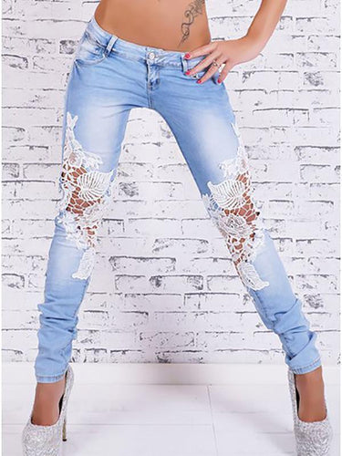PMS light_blue / s Light-Colored Lace Stitching Jeans