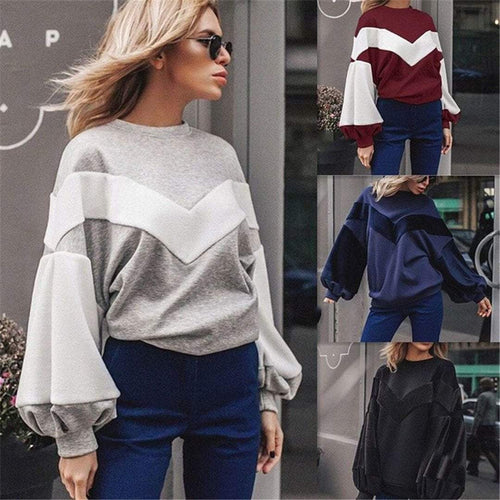 PMS Long Sleeve Loose Splicing Peng Peng Sleeves Top