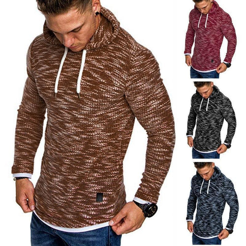 PMS Man's Hoodies Khaki / m Fashion Plain Slim Casual Sweater With Hat