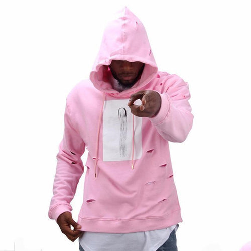 PMS Man's Hoodies Pink / s Lovely Pink Distressed Hole Couple Hoodie