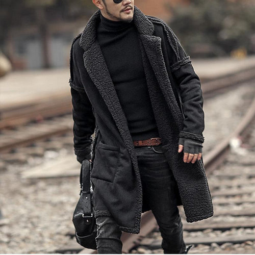 PMS Man's Outerwear Black / l Plus Size Mid Length Double Side Wearable Thicken Fur Warm Wool Blend Coat