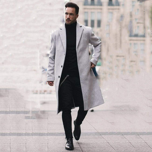PMS Man's Outerwear Business Fashion Slim Solid Color Button Lapel Long Sleeve Suit Men Outerwear