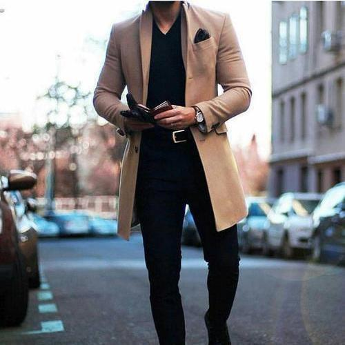 PMS Man's Outerwear Fashion Lapel Collar Plain Button Packets Long Coat