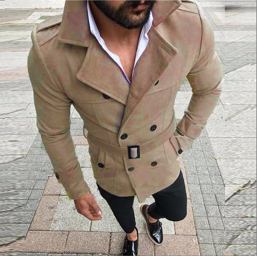 PMS Man's Outerwear Khaki / s Fashion Plain Lapel Double Button Belt Coat