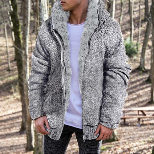 PMS Man's Outerwear Light Gray / m Fashion Mens Solid Color Plush Outerwear
