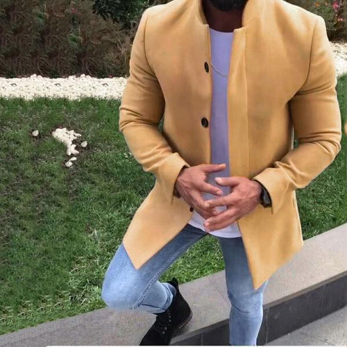 PMS Man's Outerwear Yellow / m Fashion Lapel Collar Plain Slim Coat