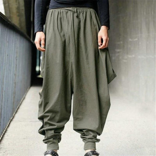 PMS Man's Pants Army Green / s Fashion Soft Casual Loose Plain Elastic Waist Harem Pants