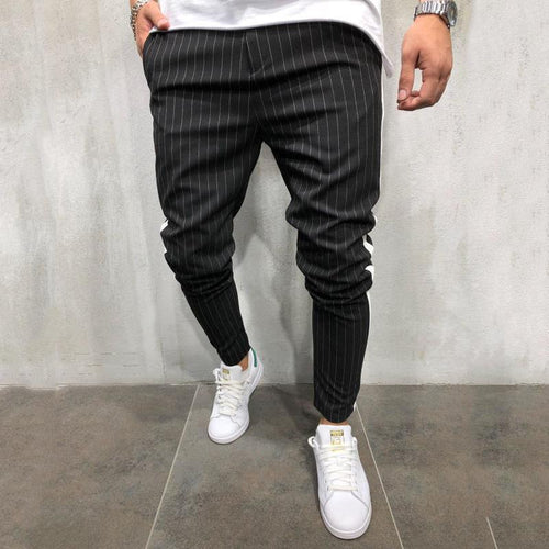 PMS Man's Pants Black / s Fashion Mens Splice Stripe Plain Pants