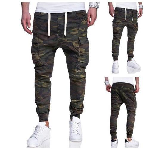 PMS Man's Pants Fashion Elastic Waist Camouflage Packets Pants