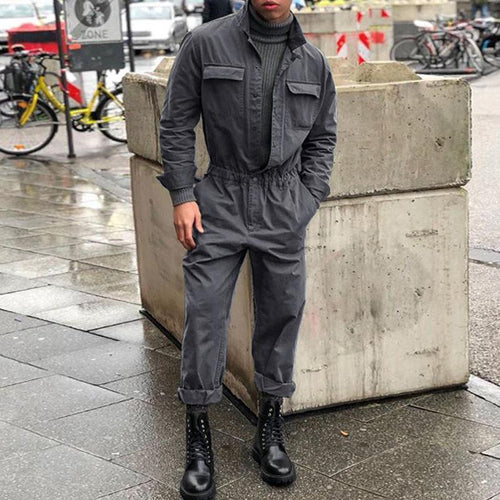 PMS Man's Pants Gray / s Fashion Lapel Collar Plain Packet Defined Waist Jumpsuit