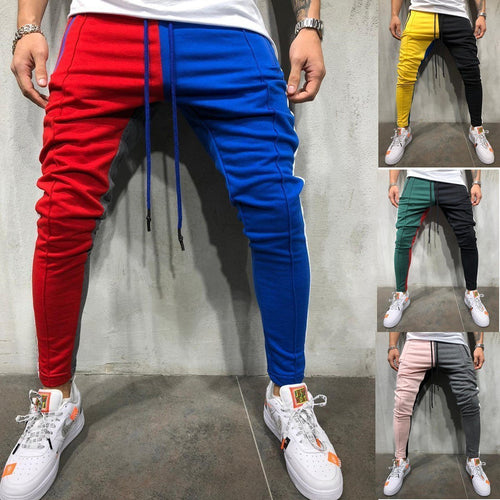PMS Man's Pants Patchwork Slim Sports Jogger Pants