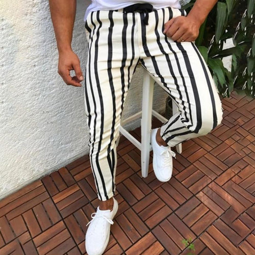 PMS Man's Pants White / m Fashion Mens Stripe Slim Pencil Pants