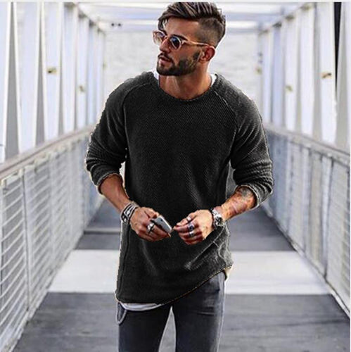 PMS Man's Sweater Black / S Basic Slim Long Sleeve Sweater