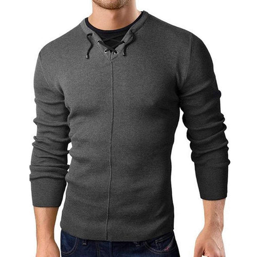 PMS Man's Sweater Dark Grey / m Casual Blinding Plain Knit Sweater