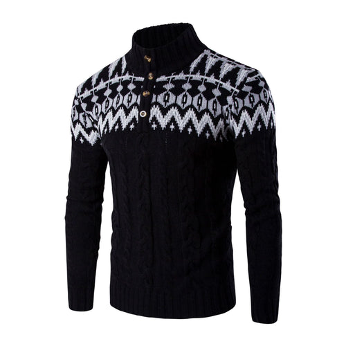PMS Man's Sweater Fashion High Collar Snow Printed Sweater