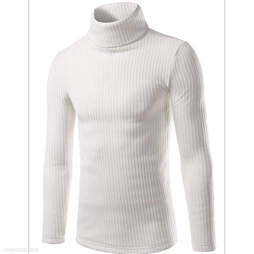 PMS Man's Sweater Fashion Youth Casual Plain High Collar Long Sleeve Sweater