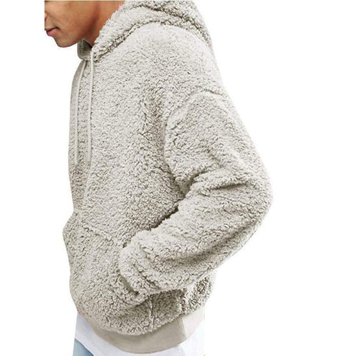 PMS Man's Sweater Gray / s Plush Hooded Men's Sweater