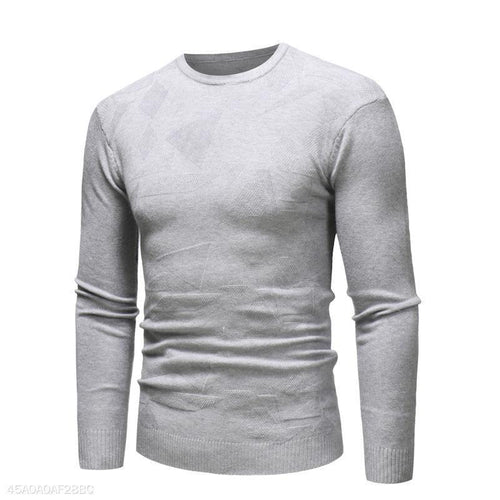 PMS Man's Sweater Light Gray / m Casual Round Collar Plain Thin Sweater