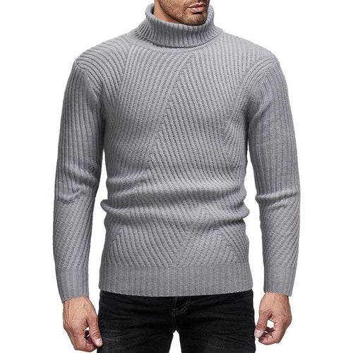 PMS Man's Sweater Light Gray / m Fashion High Collar Plain Knit Sweater