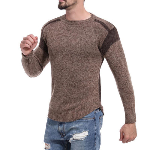 PMS Man's Sweater Patchwork Crew Neck Weave Sweater