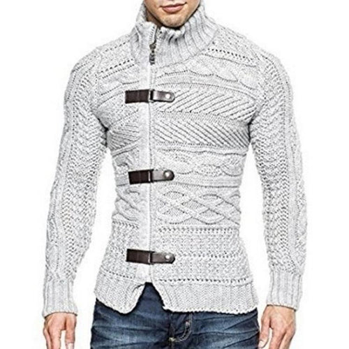 PMS Man's Sweater White / m Fashion Chic Mid-High Collar Long Sleeves Knitting Shirt