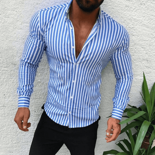 PMS Man's Tops Blue / M Mens Slimfit Cotton Blend Striped Shirt