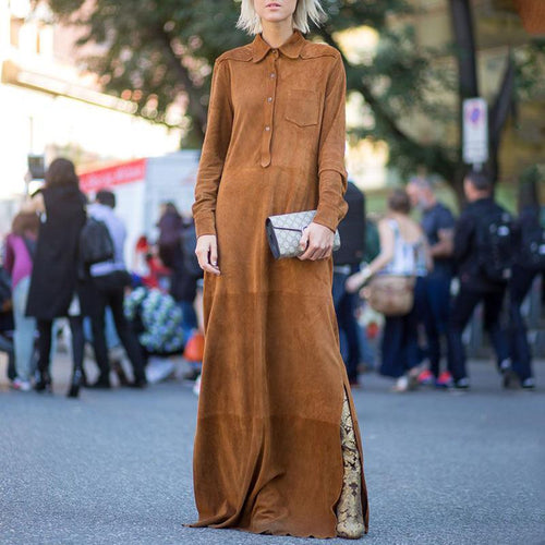 PMS Maxi Dress Camel / s Fashion pure color   open long sleeves maxi dress