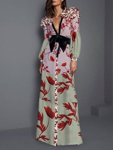 PMS Maxi Dress Elegant V Neck Ruffled Floral Pattern Printed Bishop Sleeve Maxi Dress