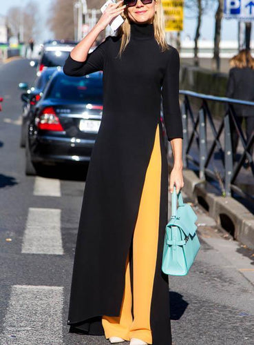 PMS Maxi Dress Fashion pure color open long sleeves maxi dress