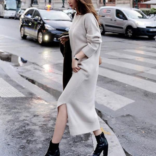 PMS Maxi Dress Gray / s Autumn And Winter Fashion Loose Coarse Wool Dress