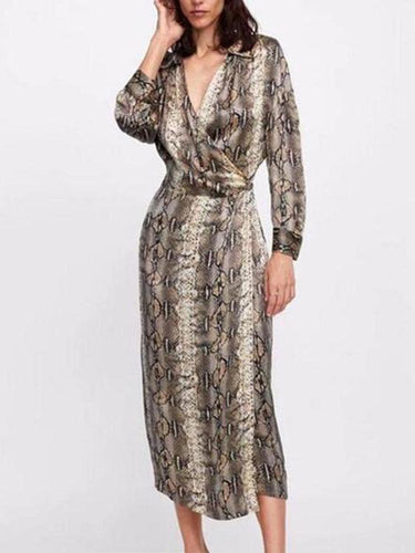 PMS Maxi Dress same_as_photo / l Lapel V Neck Long Sleeve Sexy Snake Printed Maxi Dress