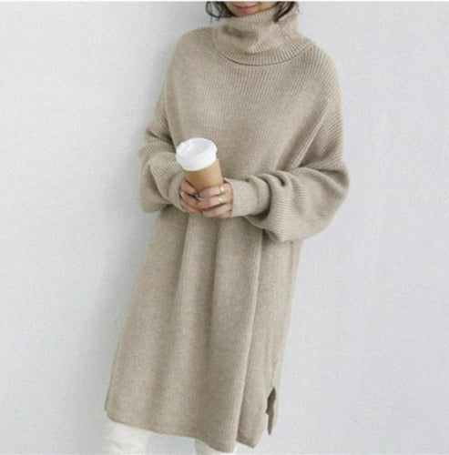 PMS Maxi Dresses Autumn And Winter Pure   Color High Collar Loose Knitted Dress